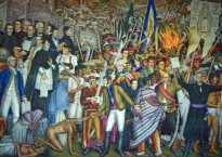 Mural by Juan O´Gorman, National Museum of History, Mexico City depicts Father Miguel Hidalgo and the Grito de Dolores, marking the start of Mexico's struggle for independence