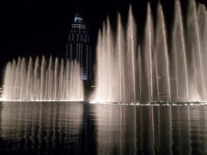 Light show on the lake at the Burg Khalifa
