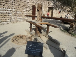 Old tools in the Dubai Museum courtyard