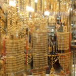 A typical window full of gold in the Gold Souq