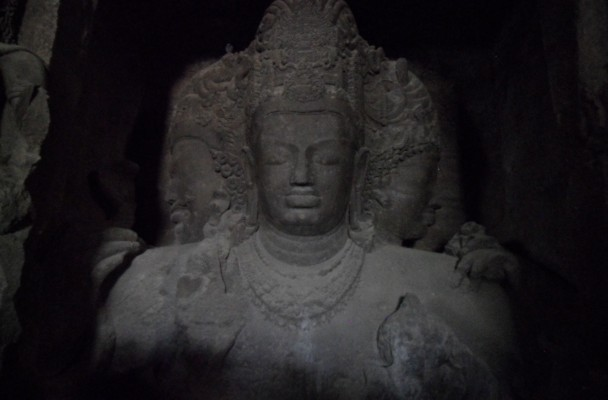 The colossal figure of Shiva with three heads dominiates the cave temple on Elephants Island